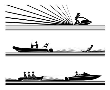 Illustration in form of pictograms which represent amusement and enjoyment in water sports, jet ski, water ski and banana boat ride. Vettoriali