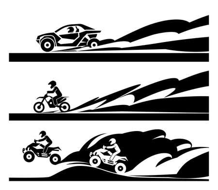 Auto da corsa e moto fuoristrada. Moderni sport estremi di adrenalina. Concetto di diversi sport da corsa.