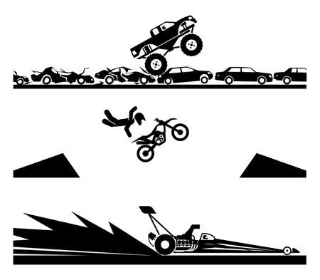 Exhibiting adrenaline sports. Bell Adrenaline Ranch, Drag Racing, Monster truck.Concept of modern extreme adrenaline sports. Vector illustration of motor show.