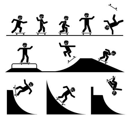 Skateboard tricks and stunts. Riding skateboard on a ramp. Enjoyment in extreme adrenaline sport. Skateboard tricks and stunts. Riding skateboard on a ramp. Enjoyment in extreme adrenaline sport.