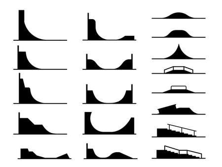Illustrazione in forma di pittogrammi che rappresentano tipi di rampe per skate park e ringhiere per acrobazie e acrobazie su biciclette e skateboard. Attrezzature per il divertimento in sport adrenalinici estremi. Archivio Fotografico - 93431119