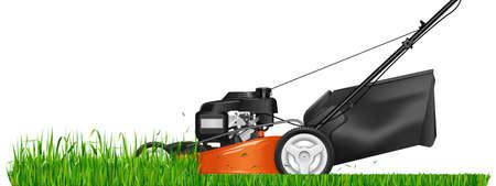 Grasmaaier. Gemaaid gras. Grasmaaimachine die groen gras snijdt. Vector illustratie