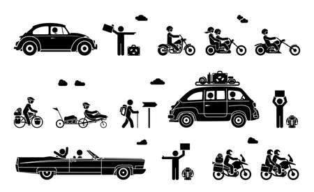 Various types of transport. Illustration in form of pictograms which represent travel by bike, motorcycle and car. Illusztráció
