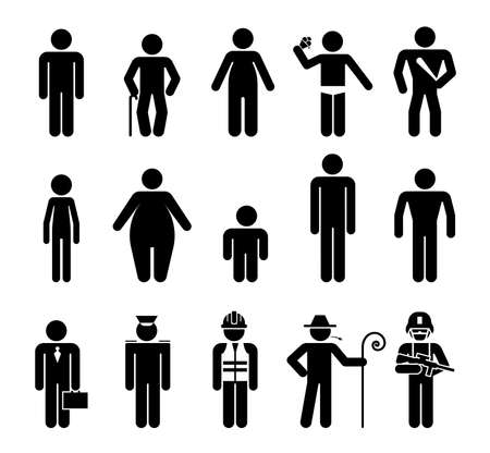 Set of male pictograms that represent various kinds of people. Body appearance. Pictograms which  represent various type of men body shape and age difference.