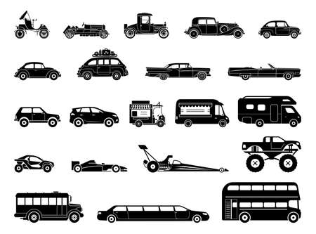 Old car and other vehicle models, classic, oldtimer, extravagant, special purposes vehicles. Collection of signs presenting different modes of transport on land. Modern means of transportation. Transportation icons. Ilustração