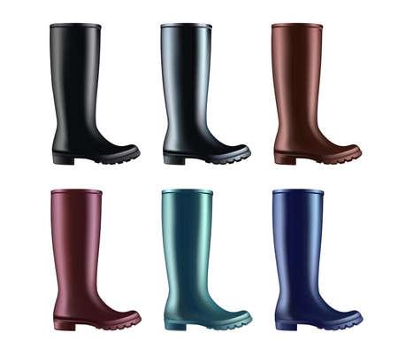Waterproof rain rubber boots. Vector illustration of colored rain boots. Spring garden work. Ilustração