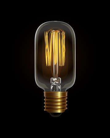 Realistic vector illustration of light bulb. Cool and decorative bulb for retro interior design. Edison light bulb on dark background.