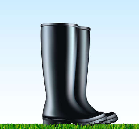 Pair of the waterproof rain rubber boots Vector illustration on black rubber boots placed on the mowed grass. Spring garden work.