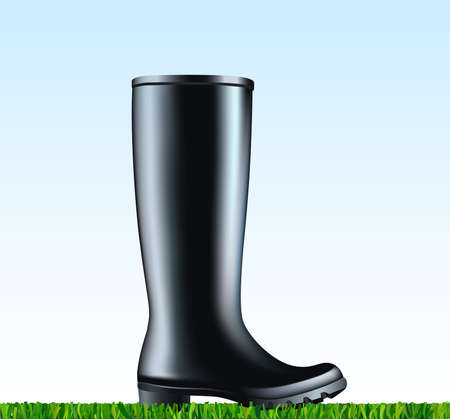 Waterproof rain rubber boot on a green grass.Vector illustration on black rubber boot placed on the mowed grass. Spring garden work.