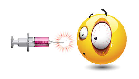 Smiley ball looking at injection. Freaked out face of smiley surrounded with various vaccine injections ready to stab. Illustration