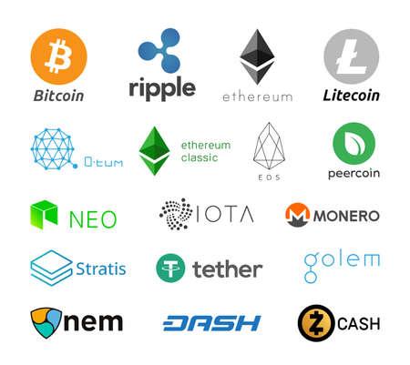 Cripto currency logo coins. Cryptocurrency Icon Collection - Bitcoin, Litecoin, Dash, Monero, Zcash, Ripple, IOTA, NEM, Stratis, NEO, Ethereum Classic, Ethereum, Golem, Peercoin, O tum, Eos, Tether. 向量圖像