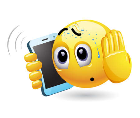 Smiley talking on a phone. Vector illustration of a smiley having unpleasant phone call.