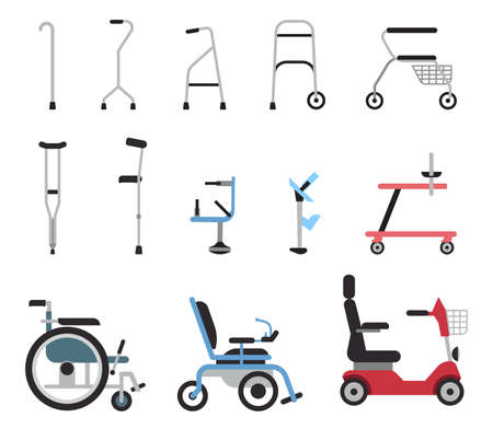 Set of icons that represent orthopedic equipment, wheelchair, crutches and mobility aids. Various orthopedic accessories and wheel chair which assist handicapped, elderly and injured people to move.