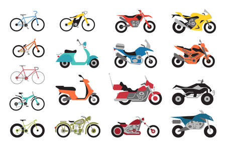 Collection of Motorcycles and bicycles icons. Moto vehicles symbols flat vector illustration. 矢量图像