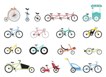Set of flat icons representing various types of bikes. Set of icons representing various types of bikes, modern, traditional, sport, extreme.