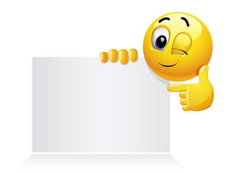 Smiley emoticon holding and showing advertise. Winking smiley showing a white blank for text or image.  Illustration