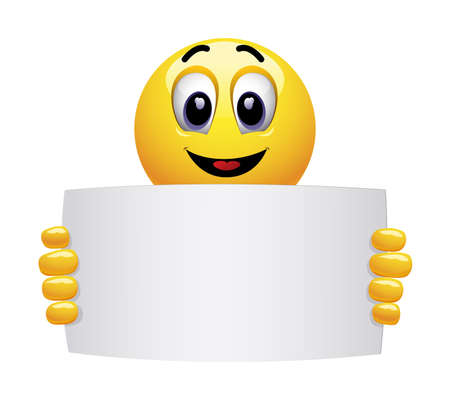 Smiley emoticon holding and showing advertise. Smiley showing a white blank for marketing text or image. Create effective marketing text messages.