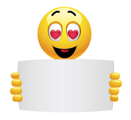 Cute smiley emoji being in love. Beautiful valentine smiley emoticons holding advertise. Stock Illustratie
