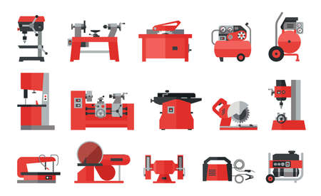 Flat icon collection of electric machine tools  for wood, metal, plastic, stone. Machines used in production in various types of industry.   Ilustração