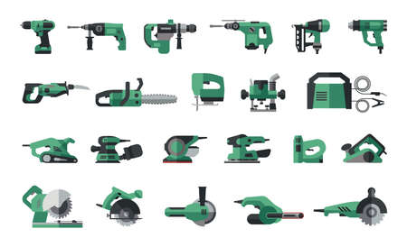Big flat icon collection of power electric hand tools. Set of master tools for wood, metal, plastic, stone. Illustration