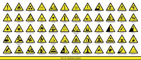 Colección de señales de advertencia. Conjunto de señales de seguridad. Señales de precaución. Señales de peligro. Señales de alertas.