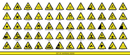 Collection of warning signs. Set of safety signs. Caution signs. Signs of danger. Signs of alerts.