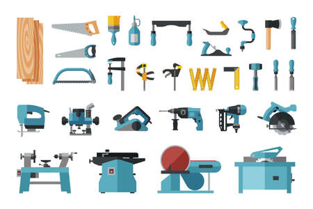 Set of carpentry tools. Big flat icon collection of hand tools and power electric machines for carpenters. Set of master tools for wood.