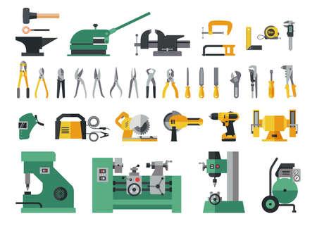 Ensemble d'outils maîtres pour le métal. Grande collection d'icônes plates d'outils à main et de machines électriques de puissance pour le processus d'usine de travail des métaux.