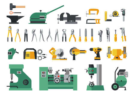Set of master tools for metal. Big flat icon collection of hand tools and power electric machines for metal work factory process. Ilustração