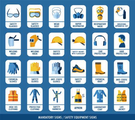 Raccolta dell'attrezzatura di sicurezza. Insieme di segnali di sicurezza e protezione della salute. Segni obbligatori per l'edilizia e l'industria. Protezione sul lavoro. Vettoriali