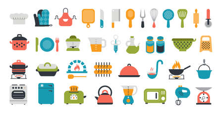 Set of kitchen tools flat icons. Cooking and preparing meals. Various kitchen items. Illustration