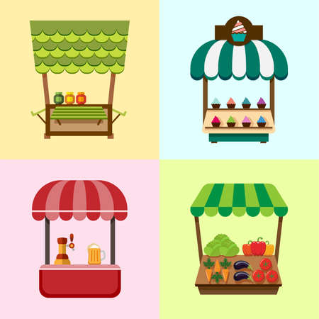 Collection of fixed stalls for external usage. Set of stylized illustrations of promo stands, food stalls, kiosks, market stalls and various promotional and sales objects. Иллюстрация