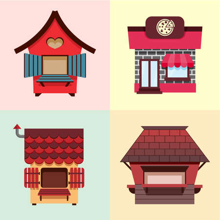 Collection of fixed stalls for external usage. Set of stylized illustrations of promo stands, food stalls, kiosks, market stalls and various promotional and sales objects. Ilustrace