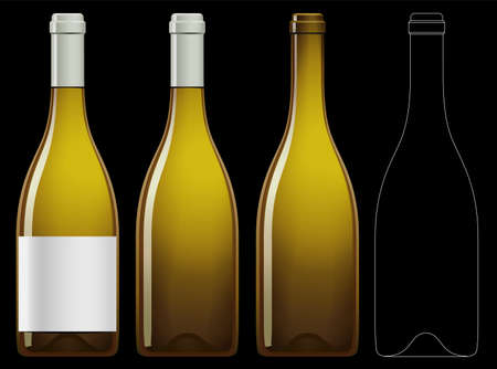 Realistic vector illustration of white wine bottle Isolated on black background. Front view of the wine bottle with label, bottle without label and linear technical drawimg of the wine bottle. Illustration