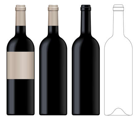 Realistic vector illustration of black wine bottle Isolated on white background. Front view of the wine bottle with label, bottle without label and linear technical drawimg of the wine bottle.