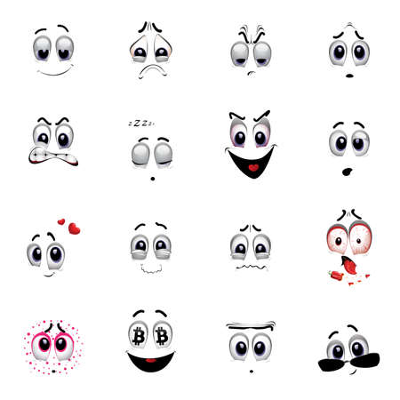 Set of various face emoji icons. Vector illustration of cartoon faces expressions. Collection of cute lovely emoticon emoji cartoon face. Vector Illustration