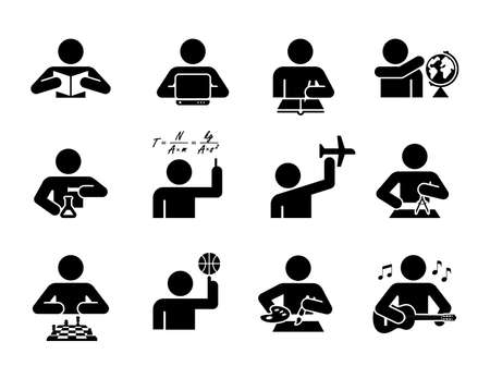 Collection of icons presenting education and different school subjects, science, art, history, geography, chemistry, maths, music, sports. Student in school attending classes. Pictogram icon set. School days.