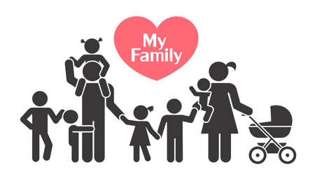 Big happy family. Children and their parents. Pictograms presenting parental love and care for children. 스톡 콘텐츠 - 110186658