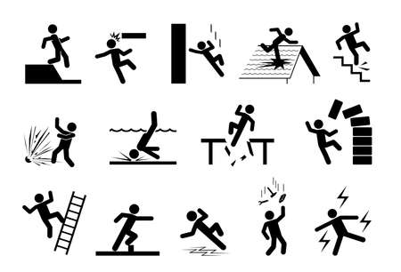 Slippery icons. Set of safety signs. Caution signs. Collection of warning signs. Signs of danger. Signs of alerts. Ilustração