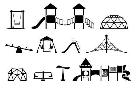Kid playground equipment icons. Icon set with different types of elements on the playground.