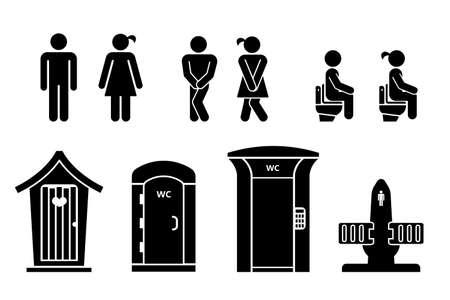 Aantal toilettekens. WC pictogrammen. Toiletlabels. Toilet tekenen illustratie. Vector Illustratie