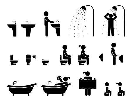 Toilet tekenen illustratie. Set toilettekens en pictogrammen. WC pictogrammen. Toiletlabels. Vector Illustratie