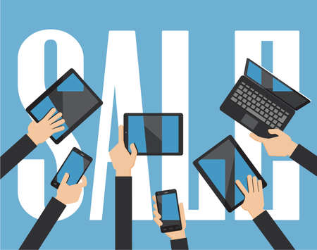 Sale computing concept. Hands holding smartphone, computer laptop and tablet with sale background.