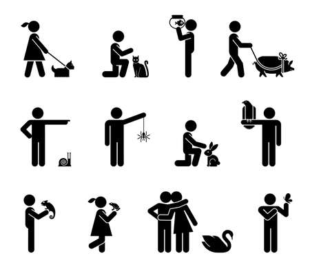 Set of pictograms representing bond between humans and animals. Collection of icons representing various types of animals and pets.