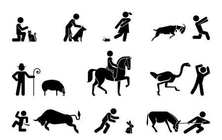 Set of pictograms representing relationship between domestic animals and their owner. Collection of icons representing various types of animals. Foto de archivo - 133656741