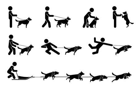 Set of pictograms representing relationship and bond between dogs and their owners. Collection of icons representing typical situations for dog owners.