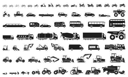 Set of various transportation and construction machinery. Icons of Motorcycles and bicycles, cars, heavy trucks, Heavy-duty vehicles and buses. Ilustração