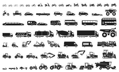 Set van verschillende transport- en bouwmachines. Iconen van motorfietsen en fietsen, auto's, zware vrachtwagens, zware voertuigen en bussen. Vector Illustratie
