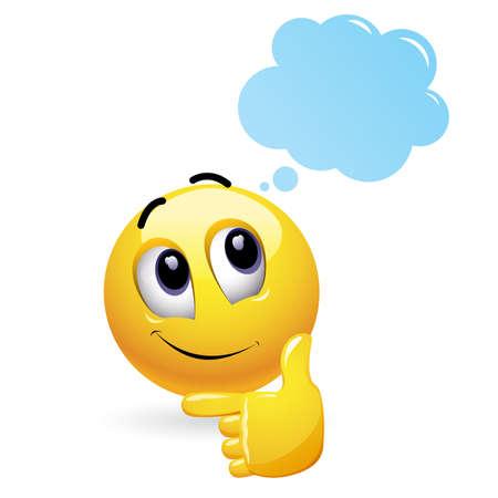 Smiley e imaginación. Nube de pensamientos. Smiley pensativo con nubes sobre su cabeza. Ilustración de vector