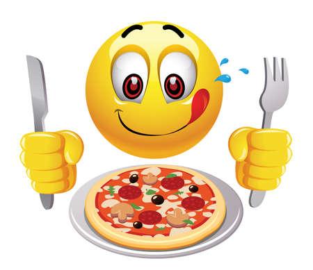 Smiley hambriento mirando sabrosa pizza. Ilustración humorística de smiley amante de la comida. Ilustración de vector